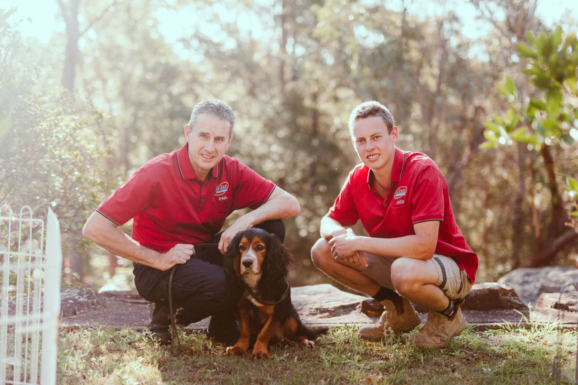 Paul and Jack Kennedy with termite detection dog Ess